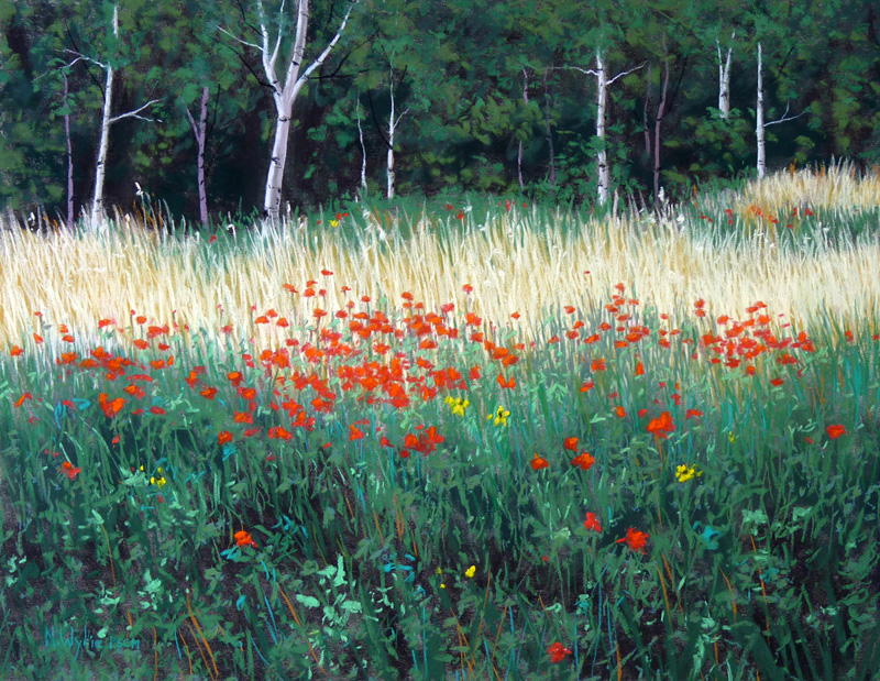 Nancy Wylie artist Field with Red pastel